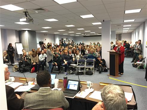 Board meeting with large crowd
