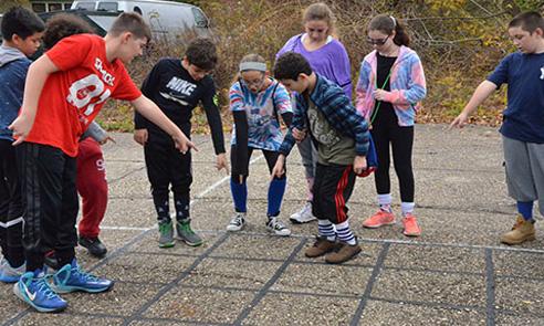 students in outdoor program