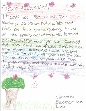 A student 's thank you  letter to a naturalist.
