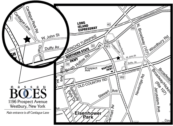 Map Detail: Main entrance is off Cantiague Lane