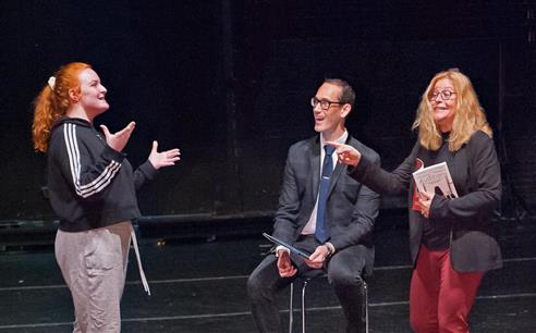 Authors David Sisco, left and Laura Josepher give some sound advice to LIHSA Theatre student Kassidy