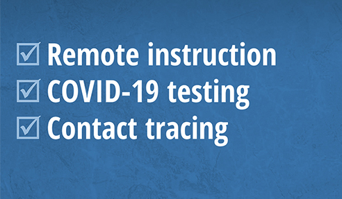 Remote instruction; Contact tracing; and COVID-19 testing