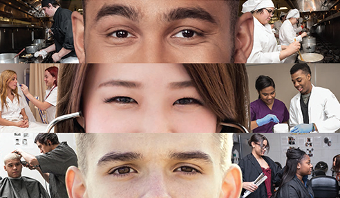Close up of three students' eyes alongside various career portrayals