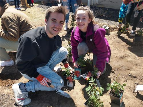 LIHSA students and staff came together to plant Peace Garden