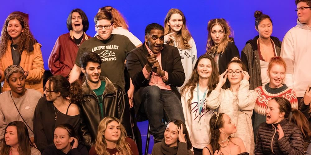 Broadway veteran and Tony Award nominee Norm Lewis with students at the Long Island High School for