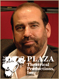 Plaza Theatrical Productions logo with leadership headshot