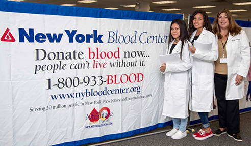 Students in blood center