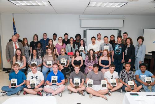 students at BOCES pose with their scholarship awards